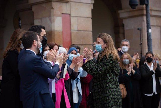 La exconsellera y diputada de ERC Meritxell Serret junto a Pere Aragonès, Laura Borràs y Roger Torrent en una imagen de archivo.