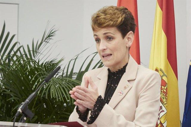 Archivo - La presidenta del Gobierno de Navarra, María Chivite.