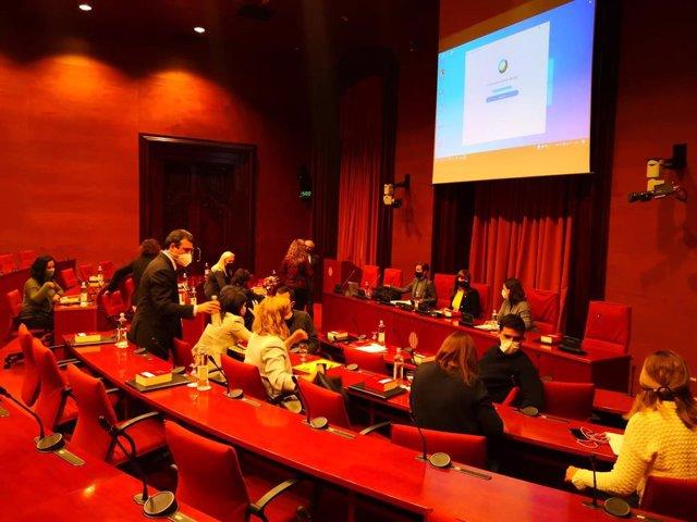 Reunió de la Junta de Portaveus al Parlament després de la reunió de la Mesa.
