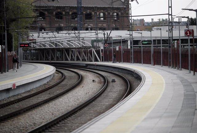 Andén de la Estación de Renfe de Méndez Álvaro, en Madrid