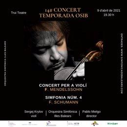 Cartel promocional del concierto que ofrecen este viernes la Orquesta Sinfónica de Baleares y el violinista Sergej Krylov.