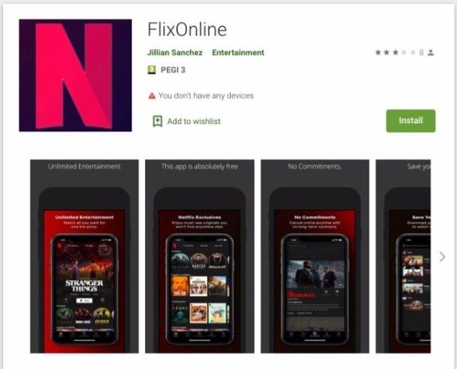App maliciosa FlixOnline.