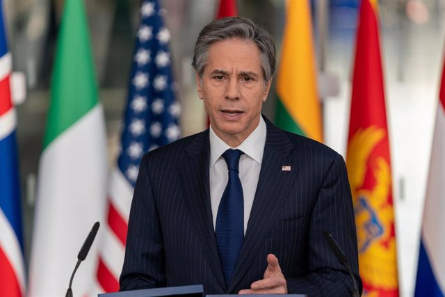 HANDOUT - 24 March 2021, Belgium, Brussels: US Secretary of State Antony Blinken delivers remarks on the second day of the NATO foreign ministers meeting at NATO headquarters. Photo: Ron Przysucha/US Department of State/dpa - ATTENTION: editorial use only