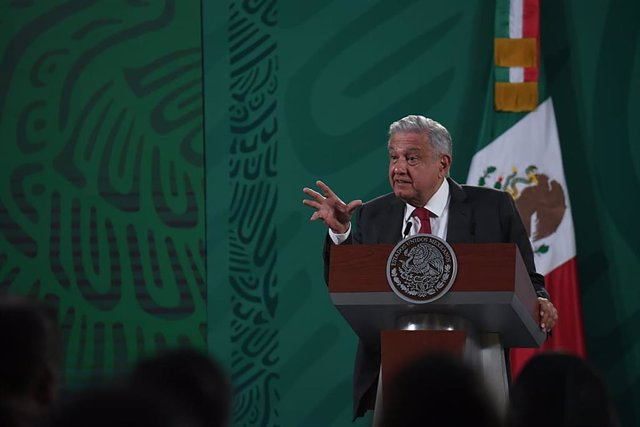 31 March 2021, Mexico, Mexico City: Mexican President Andres Manuel Lopez Obrador speaks during his daily press conference. Photo: El Universal/El Universal via ZUMA Wire/dpa