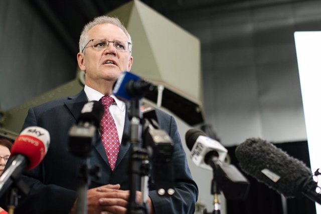 The Prime Minister Scott Morrison during the opening of Raytheon Australia's Centre for Joint Integration in Adelaide, Wednesday, March 31, 2021. (AAP Image/Morgan Sette) NO ARCHIVING