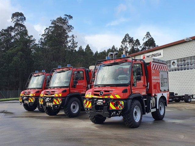 Nuevos vehículos de los parques de bomberos de Tafalla, Estella y Oronoz