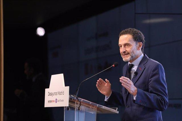 El candidato de Ciudadanos a la presidencia de la Comunidad de Madrid, Edmundo Bal, interviene en 'Desayunos Madrid', el desayuno informativo organizado por Europa Press, a 8 de abril de 2021, en el Auditorio Meeting Place, Madrid, (España).