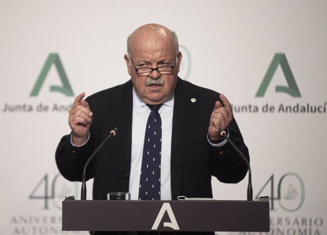 El consejero de Salud y Familias, Jesús Aguirre, durante la rueda de prensa posterior al Consejo de Gobierno de la Junta de Andalucía. En Sevilla (Andalucía, España), a 06 marzo de 2021.