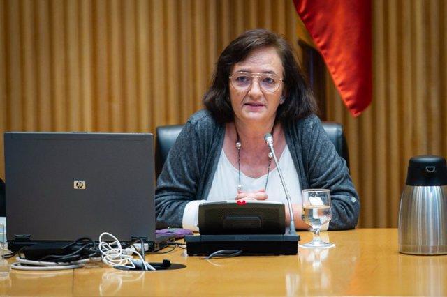 Archivo - La presidenta de la AIReF, Cristina Herrero, en la Comisión para la reconstrucción del Congreso