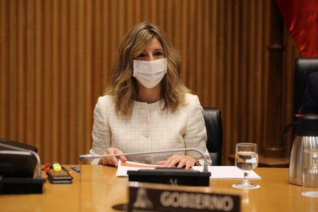 La ministra de Trabajo, Yolanda Díaz, comparece en el Congreso