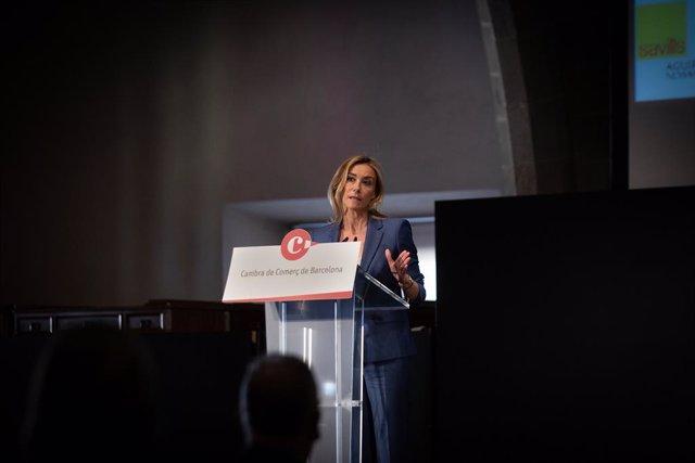 La CEO de Savills Aguirre Newman Barcelona, Anna Gener, durant l'acte de presentació de l'estudi 'La logística: Un motor per a Catalunya'.