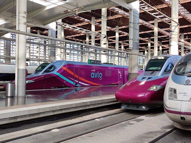 Trenes Avlo estacionados en la estación de Madrid-Puerta de Atocha