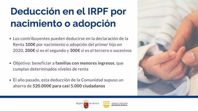 La deducción por nacimiento o adopción es una de las 13 deducciones puestas en marcha por el Gobierno regional para apoyar a las familias de la Región