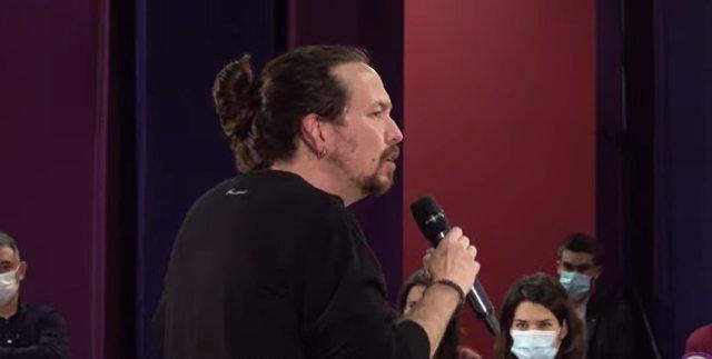 El líder de Podemos, Pablo Iglesias, en la presentación de la campaña electoral de Madrid