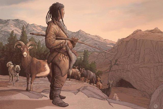 Representación de un artista de un pastor neolítico en el refugio rocoso de Obishir