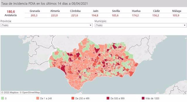 Mapa de Andalucía con nivel de incidencia de Covid-19 por municipios a 8 de abril de 2021