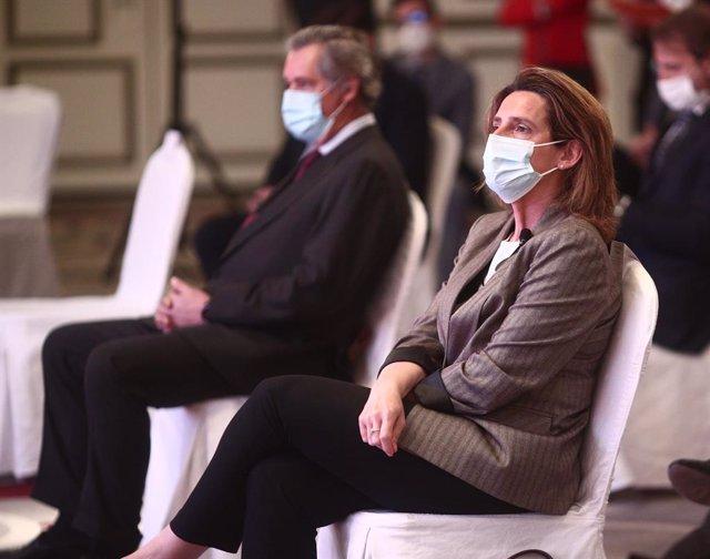 La vicepresidenta cuarta del Gobierno y ministra para la Transición Ecológica y el Reto Demográfico, Teresa Ribera, participa en el desayuno 'El Ágora' organizado por 'El Economista', a 7 de abril de 2021, en el Hotel Westin Palace, Madrid, (España), a 7