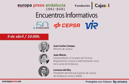 Juan Carlos Campo, Juan Marín y Lorenzo del Río este viernes en los encuentros informativos de Europa Press Andalucía