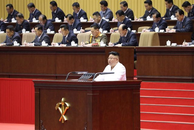 HANDOUT - 07 April 2021, North Korea, Pyongyang: A picture provided by the North Korean state news agency (KCNA) on 07 April 2021 shows, North Korean Leader Kim Jong-un speaking during the opening of the 6th Conference of Cell Secretaries of the Workers'