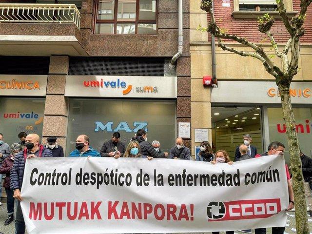 Concentración de CCOO Euskadi en Bilbao