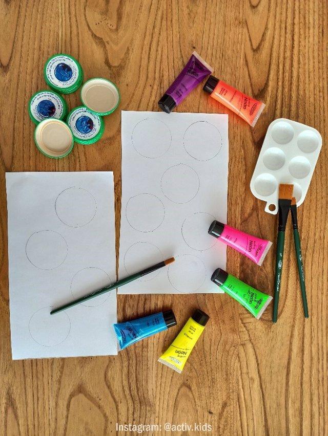 Materiales para el puzle de colores
