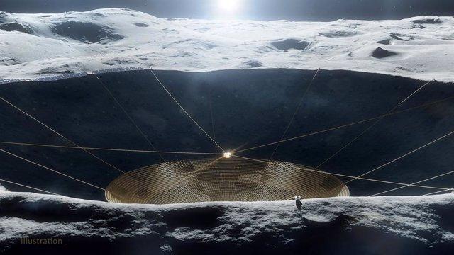 Ilustración de un radiotelescopio conceptual dentro de un cráter en la Luna.