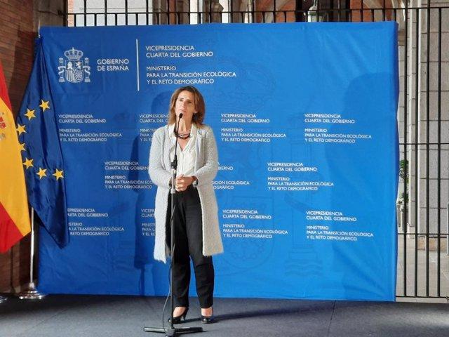 La vicepresidenta cuarta y ministra para la Transición Ecológica y el Reto Demográfico, Teresa Ribera, en la presentación del Plan Moves III.