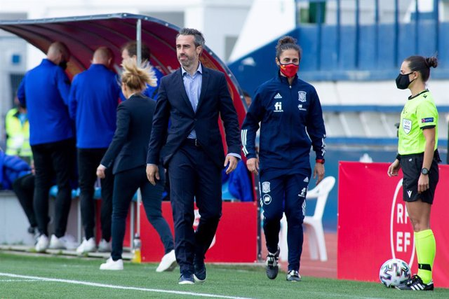 Jorge Vilda, head coach of Spain Team, during Friendly women match between Spain Team and Netherlands Team at Municipal Marbella Stadium on April 9, 2021 in Malaga, Spain.
