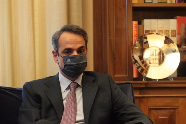 31 March 2021, Greece, Athens: Greek Prime Minister Kyriakos Mitsotakis speaks during an interview after presenting the key principles of the so-called National Recovery and Resilience Plan for the day after the coronavirus pandemic. Photo: Aristidis Vafe