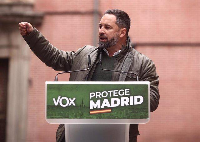 El presidente de Vox, Santiago Abascal, durante un mitin en Madrid