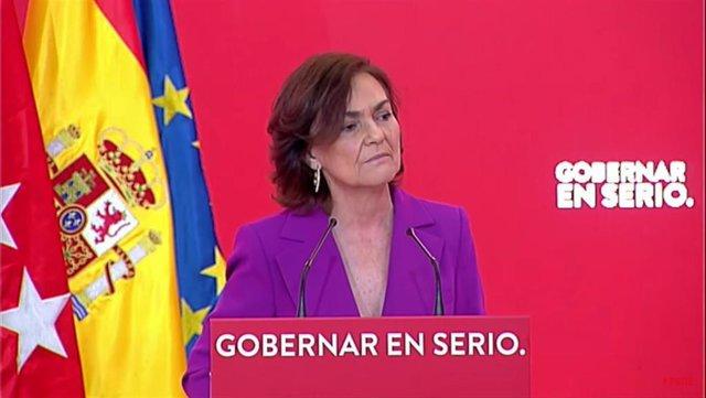 La vicepresidenta primera del Gobierno y secretaria de Igualdad del PSOE, Carmen Calvo, durante un acto sobre feminismo en la sede del PSOE de Ferraz