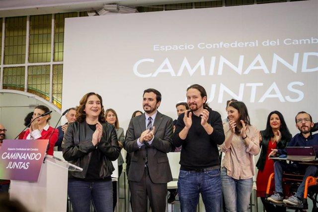 Archivo - (I-D) La alcaldesa de Barcelona, Ada Colau, el ministro de Consumo, Alberto Garzón, el vicepresidente segundo, Pablo Iglesias, y la ministra de Igualdad, Irene Montero, en el encuentro confederal de Unidas Podemos.