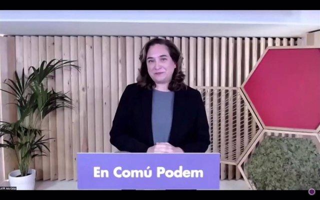 La alcaldesa de Barcelona, Ada Colau, en su intervención durante la reunión del Consejo Confederal de Unidas Podemos.