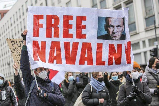 Archivo - Manifestación de apoyo a Alexei Navalni en Berlín