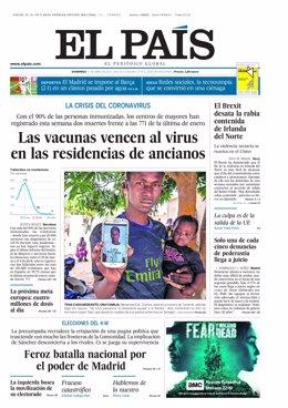 Portada de El País el 11 de abril de 2021