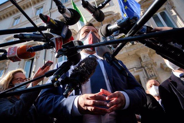 08 April 2021, Italy, Rome: Lega Nord leader Matteo Salvini speaks to the media after leaving the Chigi Palace following a meeting with Italian Prime Minister Mario Draghi. Photo: Mauro Scrobogna/LaPresse via ZUMA Press/dpa