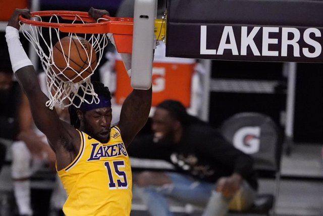 26 March 2021, US, Los Angeles: Los Angeles Lakers' Montrezl Harrell dunks during the American NBA basketball match between Los Angeles Lakers and Cleveland Cavaliers at the Staples Center. Photo: Keith Birmingham/Orange County Register via ZUMA/dpa
