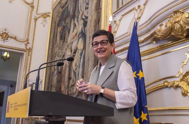 La ministra d'Afers exteriors, Unió Europea i Cooperació, Arancha González Laya, intervé durant un acte en el qual l'Equip Tècnic Español d'Ajuda i Resposta a Emergències (START) es posa a la disposició del Sistema Nacional de Salut, en el Pal