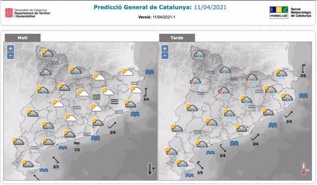 Previsió de pluges i tempestes a Catalunya