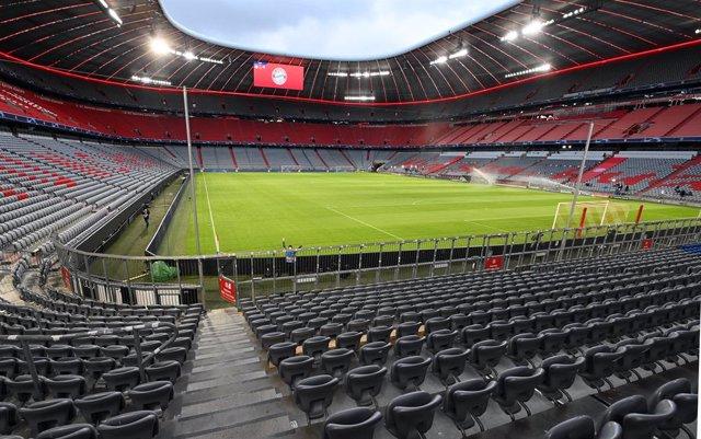 07 April 2021, Bavaria, Munich: A general view of the Allianz Arena the host venue of the UEFA Champions League quarter-final first leg soccer match between FC Bayern Munich and Paris Saint-Germain. Photo: Sven Hoppe/dpa