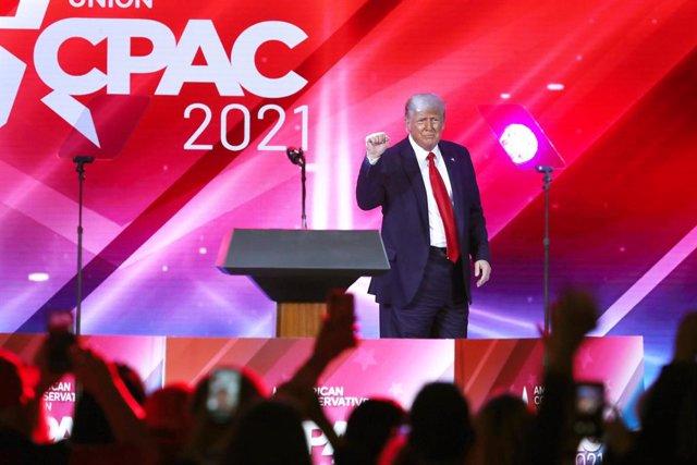 L'expresident Donald Trump durant un discurs a Florida.