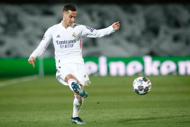 Lucas Vazquez of Real Madrid in action during the UEFA Champions League, Quarter finals round 1, football match played between Real Madrid and Liverpool FC at Alfredo Di Stefano stadium on April 06, 2021 in Valdebebas, Madrid, Spain.