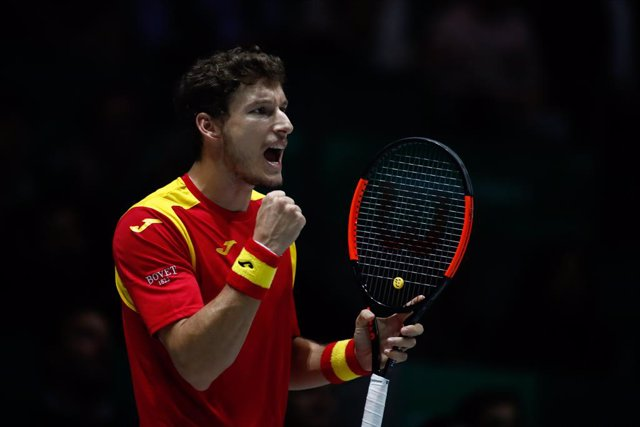 Archivo - Pablo Carreno of Spain in action during his match played against Guido Pella of Argentina during the Day 5 of the 2019 Davis Cup at La Caja Magica on November 22, 2019 in Madrid, Spain.