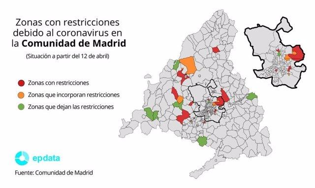 Zonas con restricciones debido al coronavirus en la Comunidad de Madrid