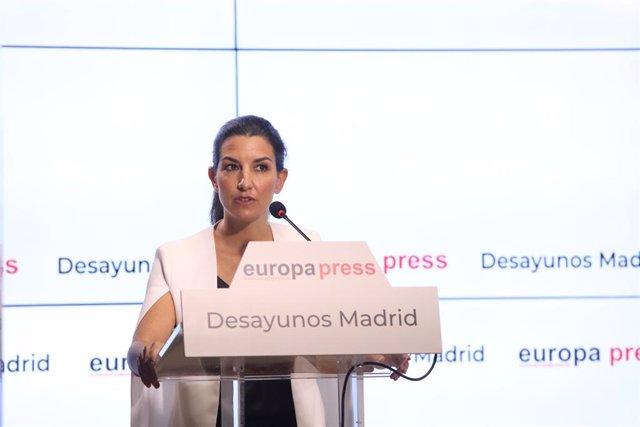 La candidata de Vox a la Presidencia de la Comunidad de Madrid, Rocío Monasterio, interviene en un Desayuno Madrid de Europa Press.