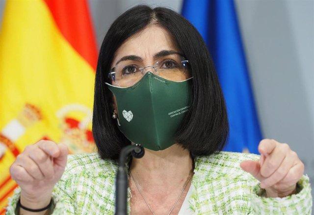 La ministra de Sanidad, Carolina Darias, comparece en una rueda de prensa, en Valladolid, Castilla y León (España), a 31 de marzo de 2021. Mañueco y Darias han mantenido un encuentro momentos antes de que la ministra presida en la capital vallisoletana el