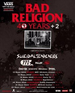 Cartell de la gira de Bad Religion el 2022