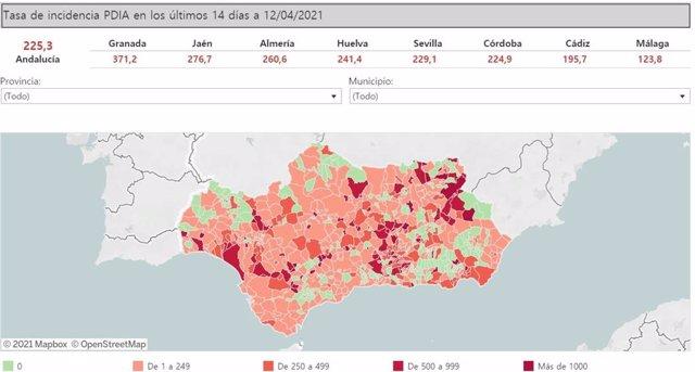 Mapa de Andalucía con nivel de incidencia de Covid-19 por municipios a 12 de abril de 2021