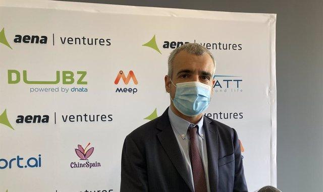 El presidente de Aena, Maurici Lucena, durante su visita a Aea Ventures.