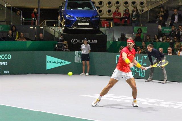 Archivo - El tenista Rafael Nadal durante la quinta jornada de la Copa Davis de tenis celebrada en Madrid a 22 de Noviembre 2019